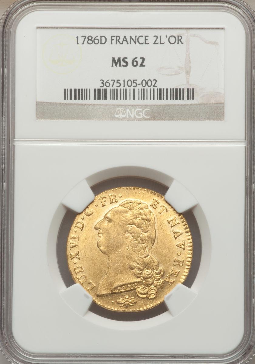 【動画あり】フランス2ルイドール金貨 France Louis XVI gold 2 Louis d'or  1786-D, Lyon mint, KM592.5, Fr-474, Gad-363, MS62 NGC