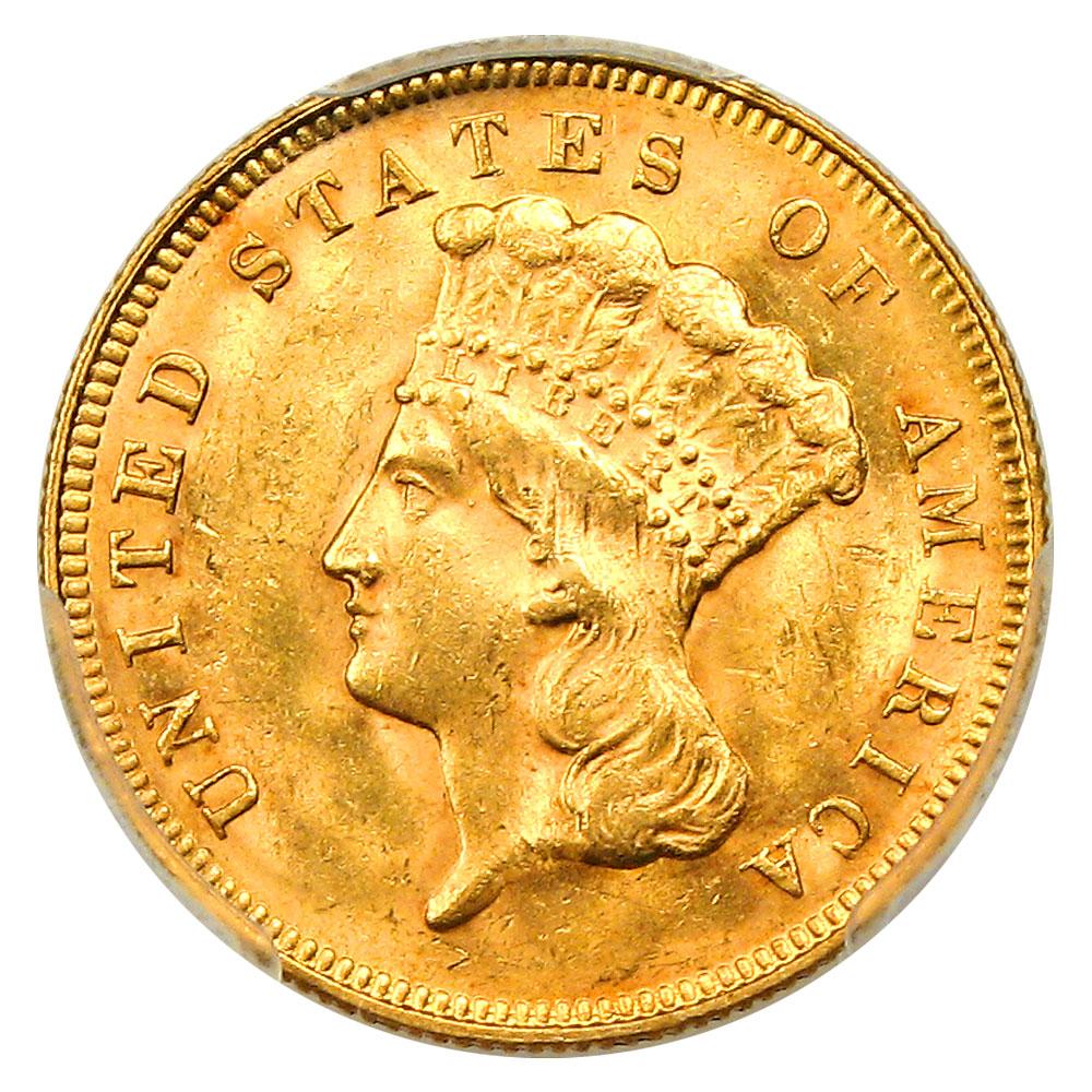 アンティークコイン アメリカ 3ドル金貨インディアンプリンスヘッド1878 $3 PCGS/CAC MS62