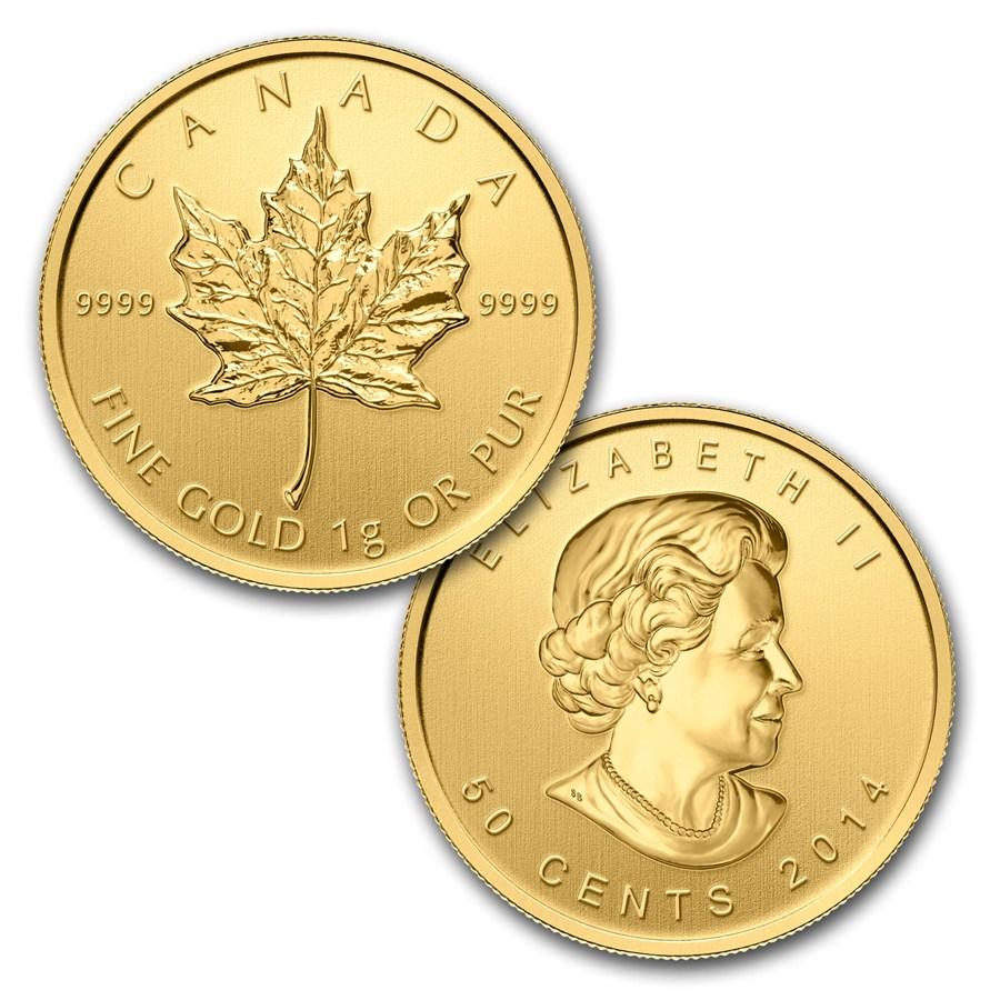 メイプルリーフ25グラム金貨25 x 1 gram Gold Maple Leafs - Maplegram25
