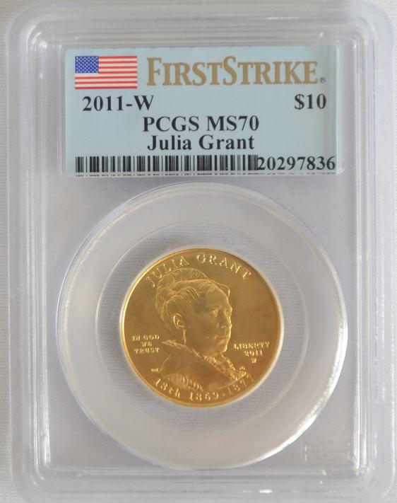 【動画あり】2011-W 10ドル金貨 ジュリアグラント $10 PCGS MS70 ファーストストライク