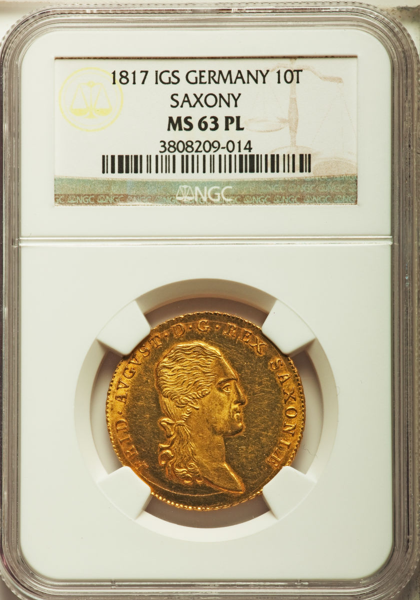 【動画あり】ドイツ10ターラー金貨German States Saxony. Friedrich August I gold 10 Taler (2 August d'or) 1817-IGS MS63 Prooflike NGC