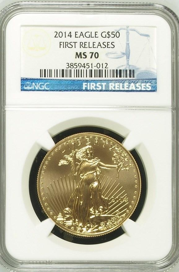 【セール品動画あり】50ドル金貨 ゴールドイーグル 2014 GOLD EAGLE  $50 NGC MS70 アーリーリリース完全未使用
