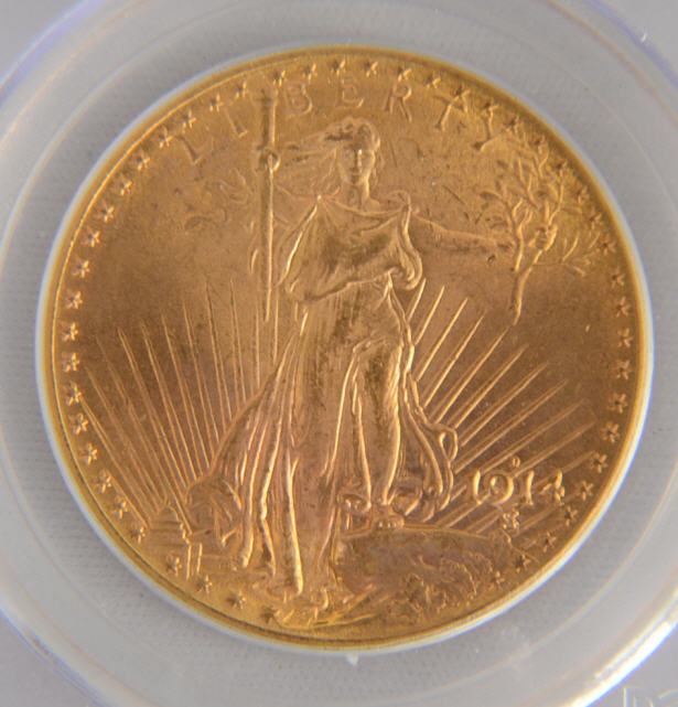 【動画あり】アンティークコイン アメリカ 20ドル金貨セントゴーデンズ1914-D $20PCGS MS65