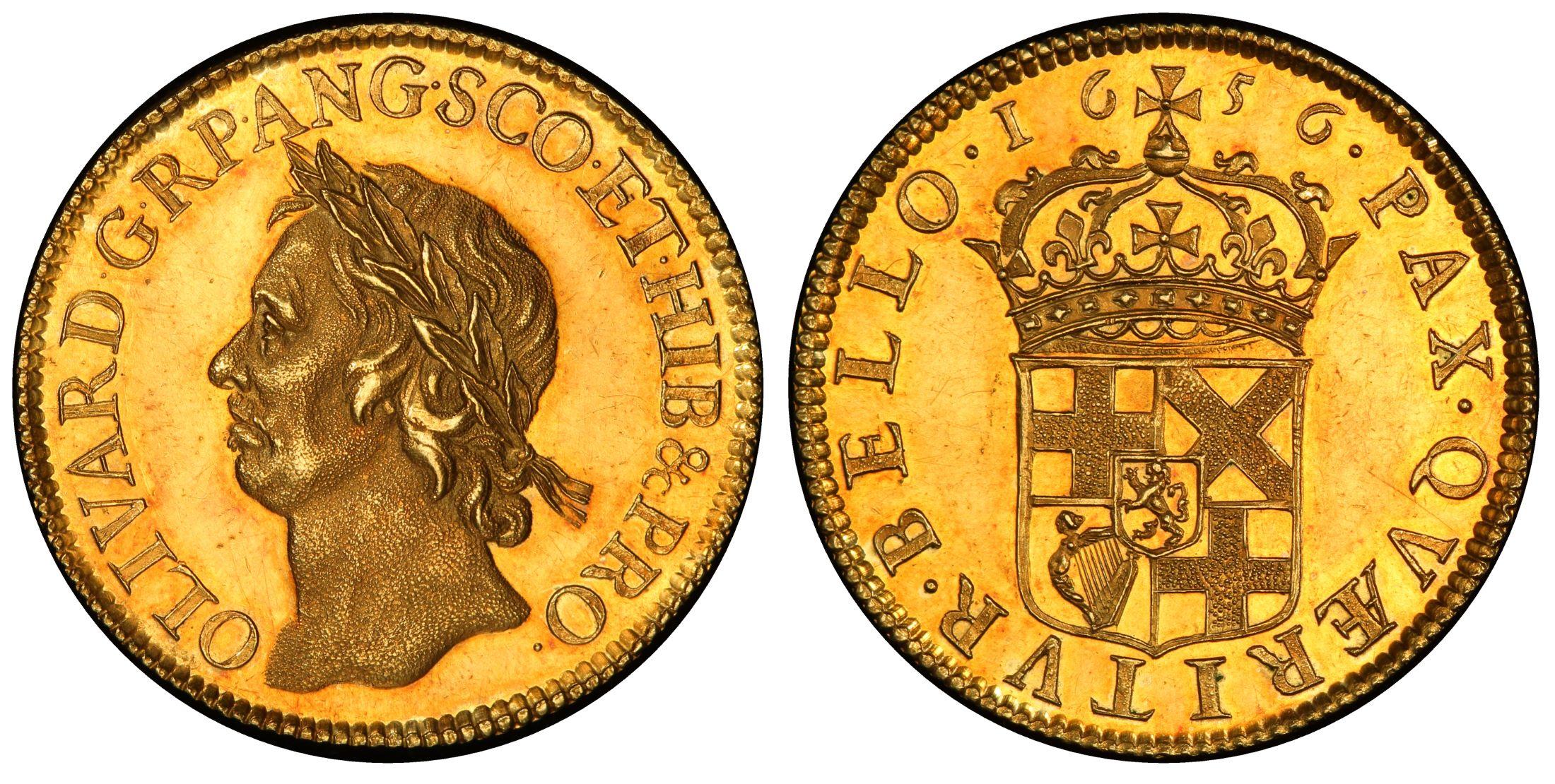 Great Britain 1 Broad, 20 Shillings オリバークロムウェル ブロード試鋳金貨1656年PCGS MS62