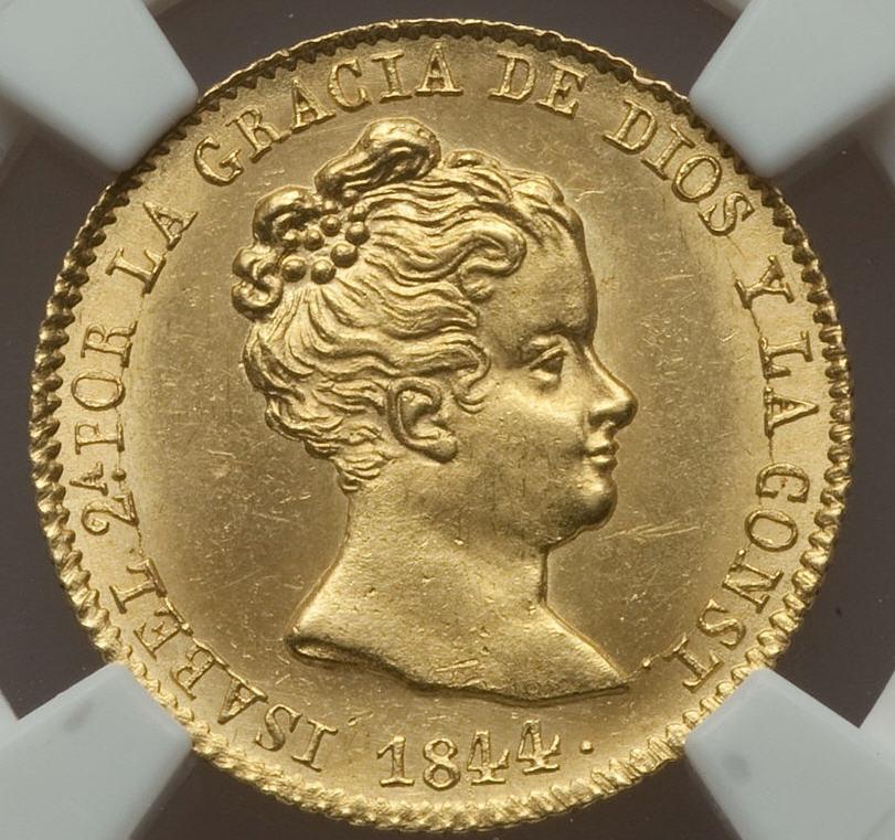 【動画あり】スペイン イザベル2世 80レアル金貨de Vellon 1844-PS Barcelona NGC MS64