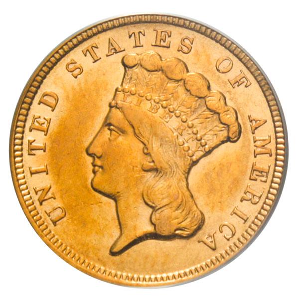 アンティークコイン アメリカ 3ドル金貨インディアンヘッド1854 $3 PCGS AU55 準未使用