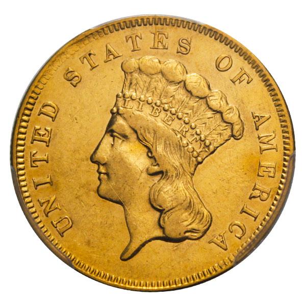 アンティークコイン アメリカ 3ドル金貨インディアンプリンスヘッド1856-S $3 PCGS AU55