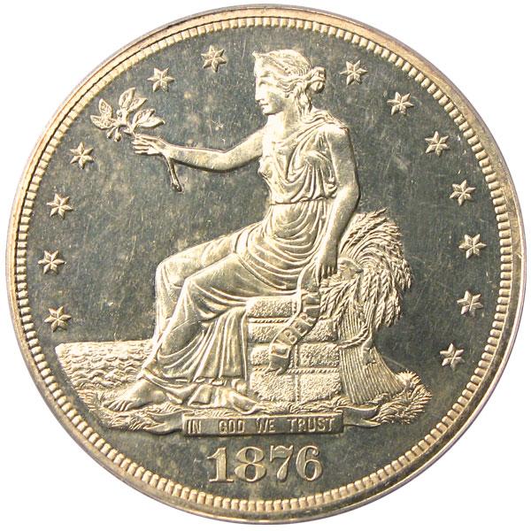 アンティークコイン アメリカ 1ドル トレードダラー銀貨 1876 Trade$ PCGS/CAC Proof 63未使用