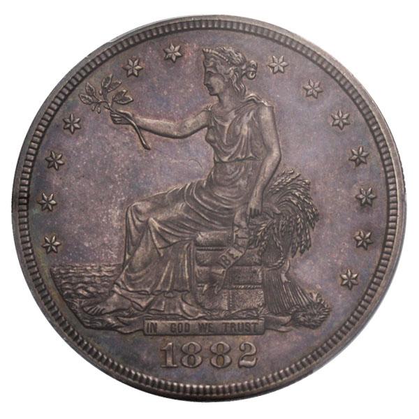 アンティークコイン アメリカ 1ドル トレードダラー銀貨 1882 Trade$ PCGS Proof 62