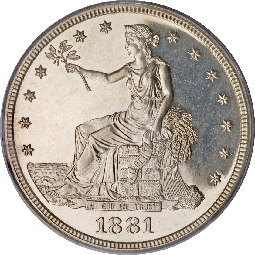 アンティークコイン アメリカ 1ドル トレードダラー銀貨 1881 Trade$ PR63 Cameo PCGS