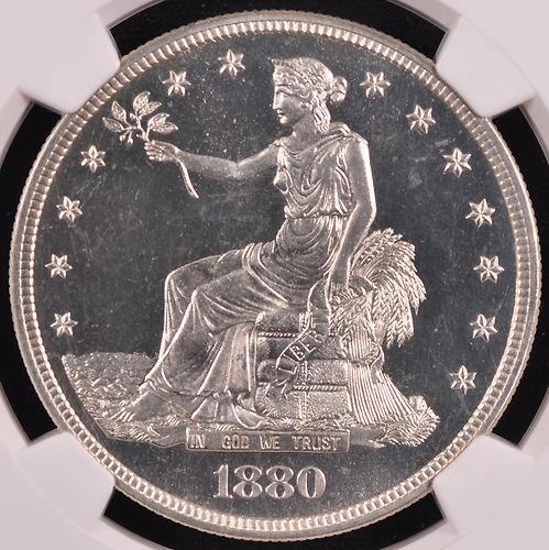 アンティークコイン アメリカ 1ドル トレードダラー銀貨 1880 TRADE T$1 NGC PR 68 Cameo