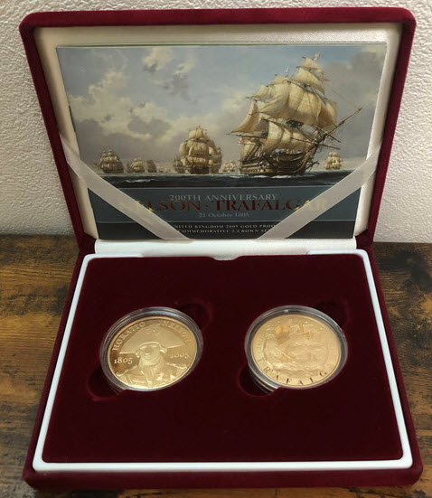 2枚組合計2オンスグレートブリテン2005年5ポンドプルーフ金貨ネルソン・トラファルガー箱入り新品