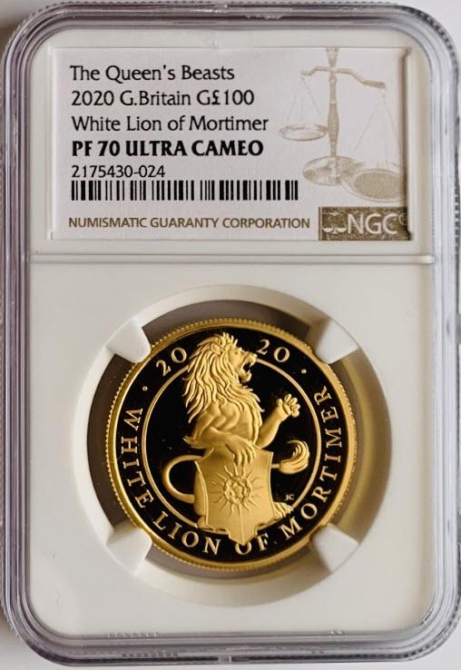グレートブリテン クイーンズビースト 2020年 ホワイトライオン100ポンド純金プルーフ金貨NGC-PF70UCAM-6028643-007