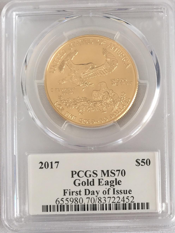 【動画あり】50ドル金貨 ゴールドイーグル 2017 $50PCGS MS70ファーストデイ デビッドホールサイン入り
