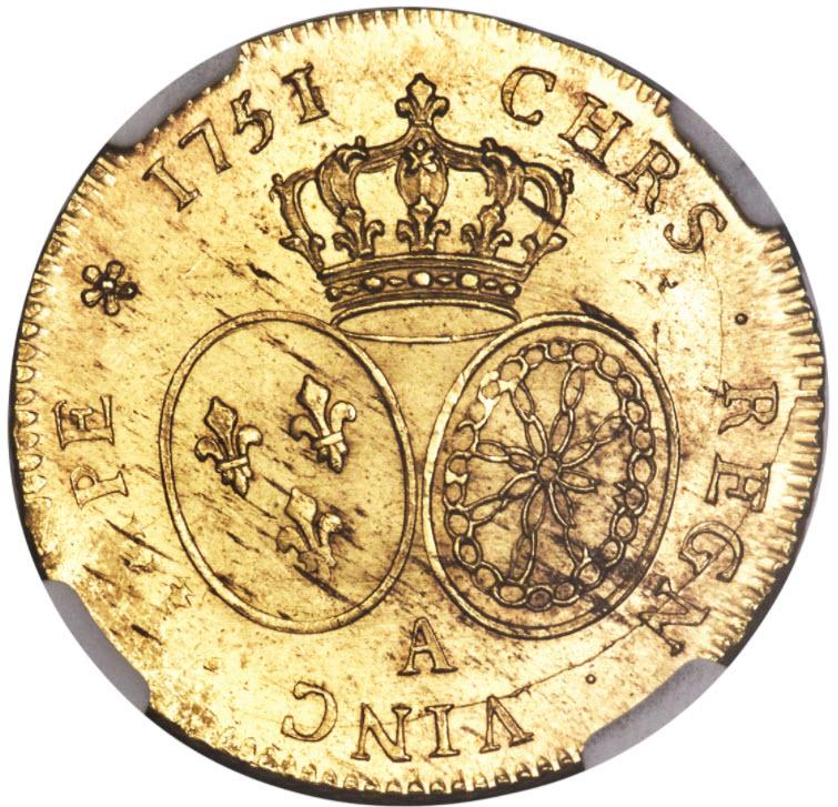 フランス 1751-A年ルイ15世2ルイドール金貨NGC-MS64