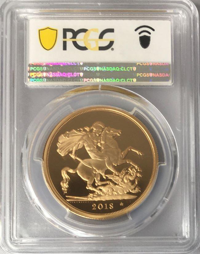 グレートブリテン 2018年 エリザベスII世65周年記念サファイアジュビリー 5ポンド金貨 PCGS-PR70DCAM