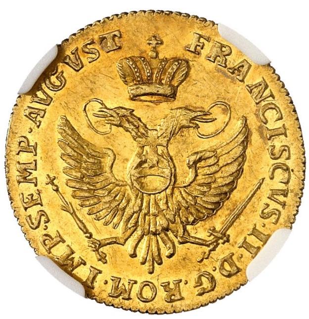 ドイツ ロストック 1796年 フランツ2世 1ダカット金貨NGC-MS61PL