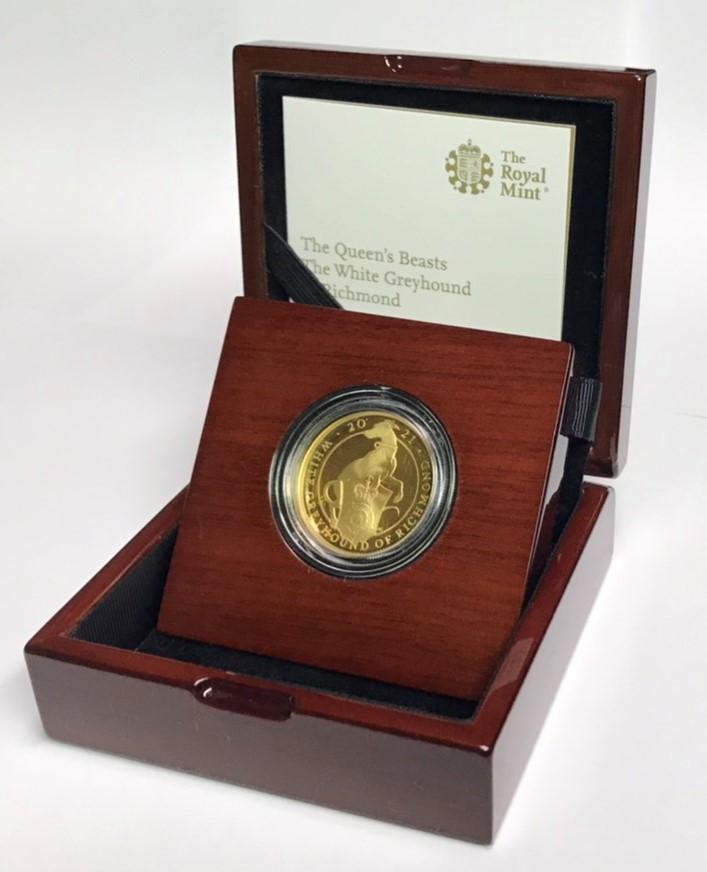 グレートブリテン クイーンズビースト-リッチモンドのホワイトグレーハウンド2021年 100ポンド金貨オリジナル箱つき