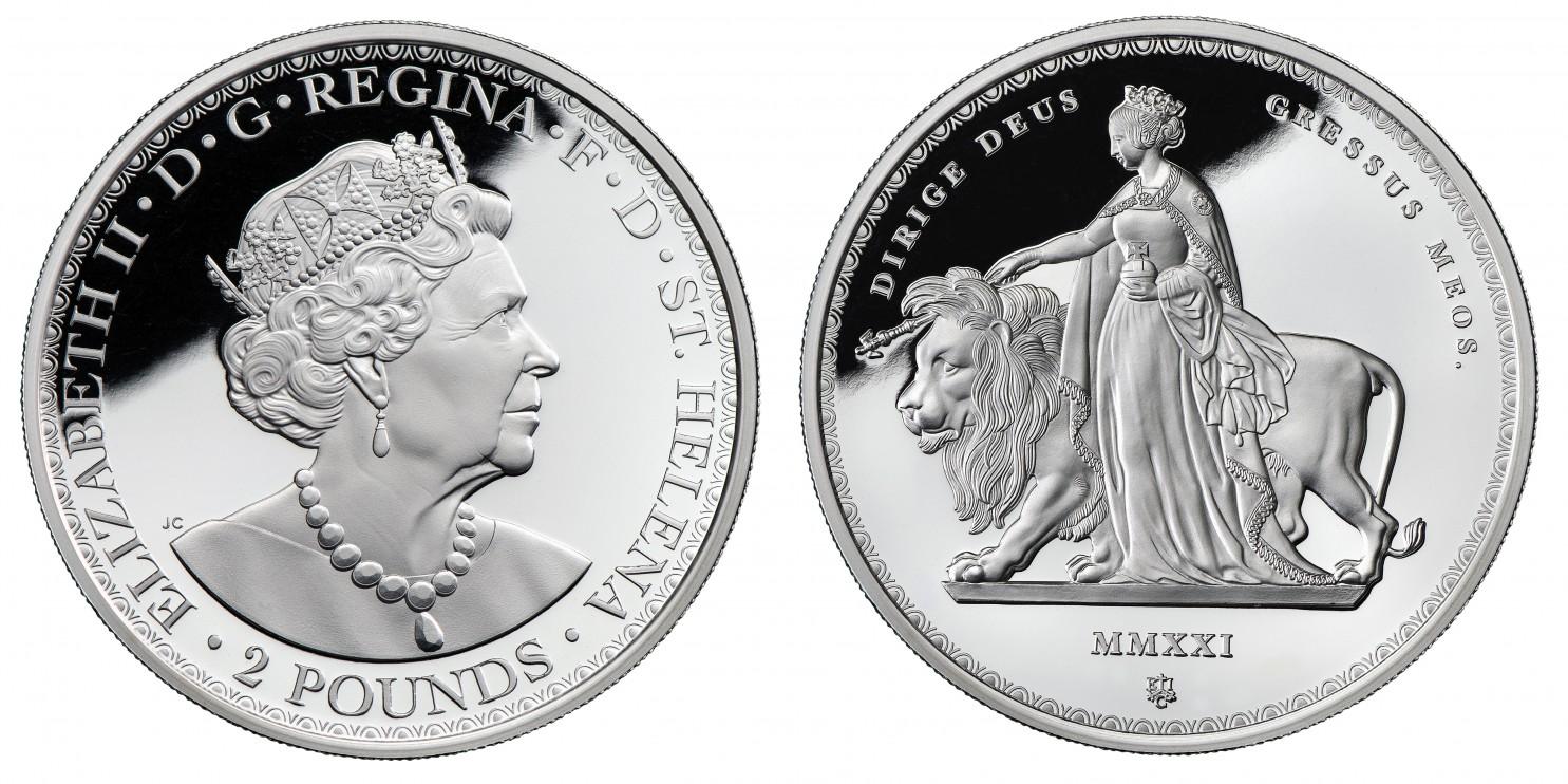 2021年グレートブリテン領セントヘレナ-エリザベス2世ウナとライオン2ポンドプルーフ銀貨NGC社鑑定付き10