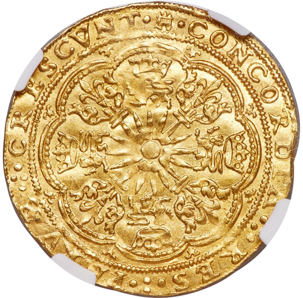 【動画あり】オランダ カンペンシティ ローズノーブル金貨 ND (1590-1593) MS65 NGC