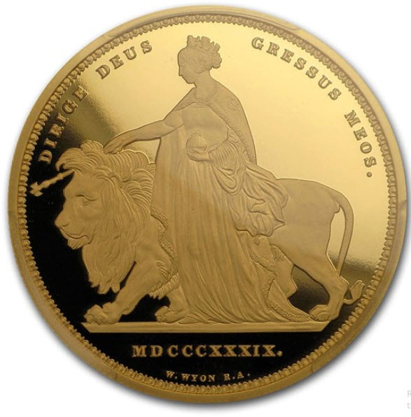 イギリスの王室属領オルダニー島エリザベス II 2019年5ポンドプルーフ金貨ウナとライオンPCGS PR70 DCAM-40174181