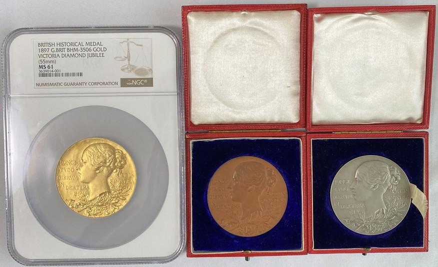 【動画あり】グレートブリテン1897年ゴールドNGC-MS61、シルバー、ブロンズメダル3点セット-ヴィクトリア女王ダイアモンドジュビリー