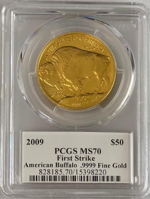 2009バッファロー金貨50ドル 1オンス PCGS MS70ファーストストライク・ジョーオーランドサイン入り-15440697