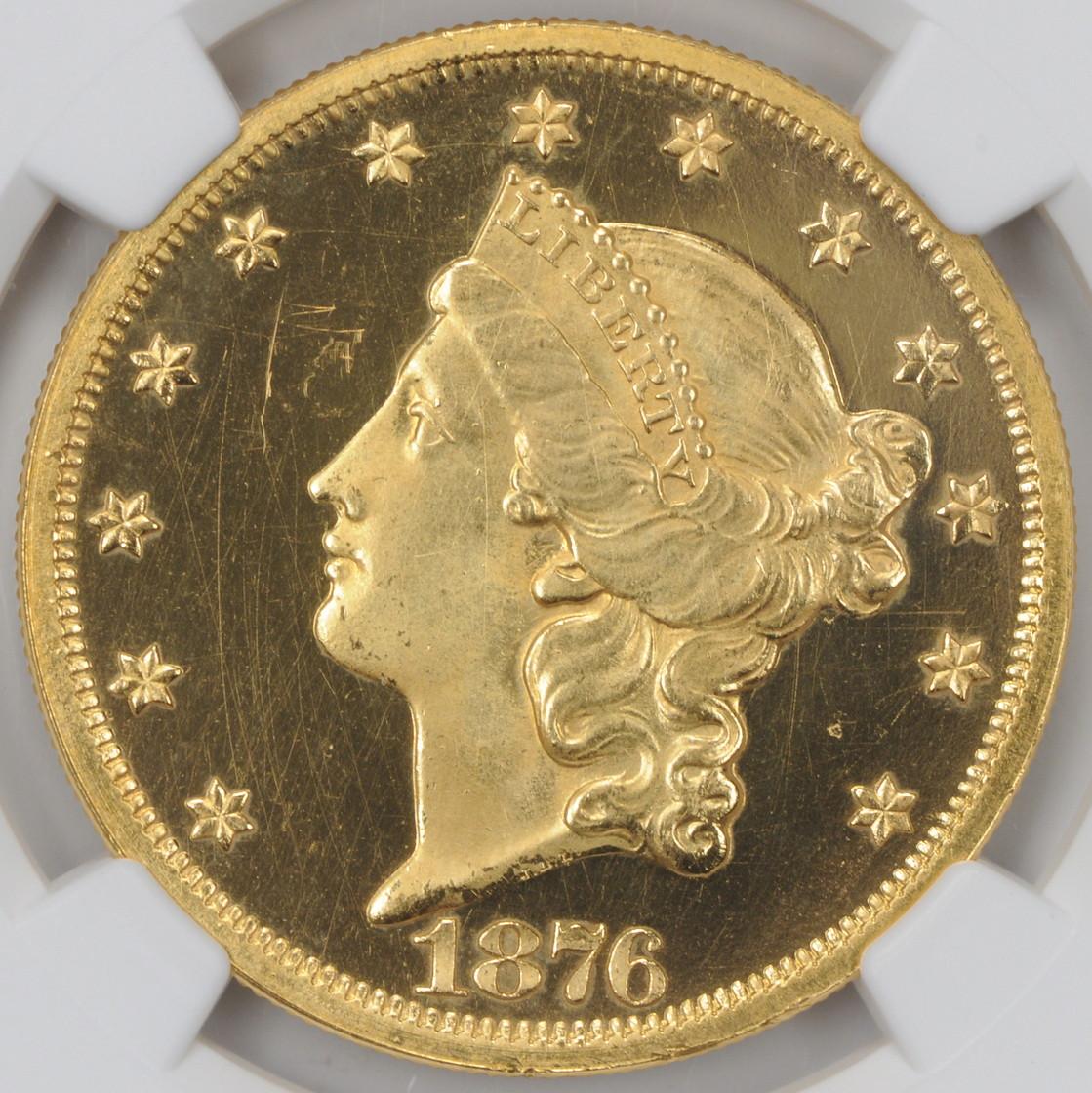 アンティークコイン アメリカ 20ドル金貨リバティヘッド1876 $20 Liberty Head Double EaglePF65UCAM NGC
