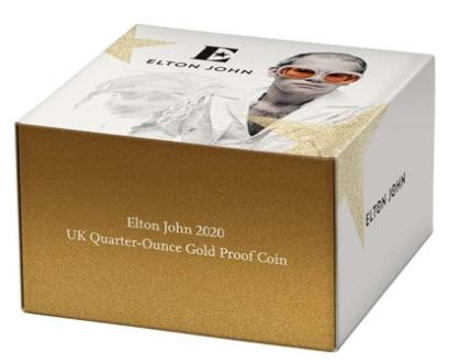 【動画あり】グレートブリテン2020年音楽の伝説シリーズエルトンジョン1/4オンス25ポンドプルーフ金貨NGC-PF69UCAMオリジナル箱付き