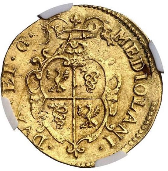 アンティークコイン イタリア ミラノ1630年 フェリペ4世 2ドッピア金貨 NGC-MS63