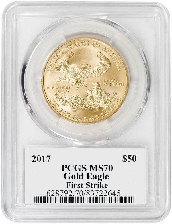 【残存7枚】50ドル金貨 ゴールドイーグル 2017-W  $50PCGS MS70ファーストストライク デビッドホールサイン入り