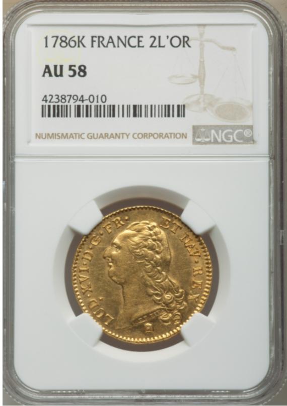 フランス1786-K年ルイ16世2ルイドール金貨NGC-AU58