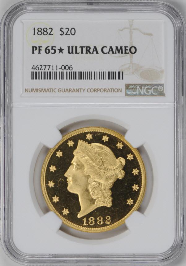 アンティークコイン アメリカ 20ドルプルーフ金貨リバティヘッド1882 $20 Liberty Head Double EaglePF65スターUCAM NGC