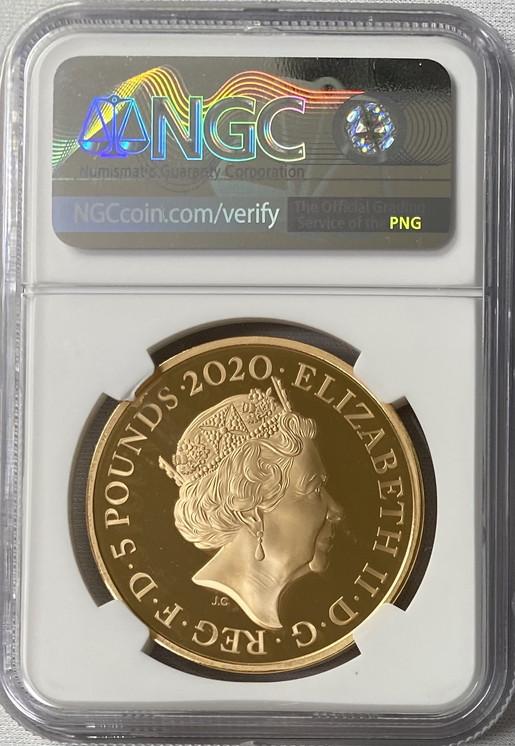 【動画あり】グレートブリテン 2020年 ジョージ3世 1オンス 5ポンドプルーフ金貨 NGC PF70 UCAM箱付き