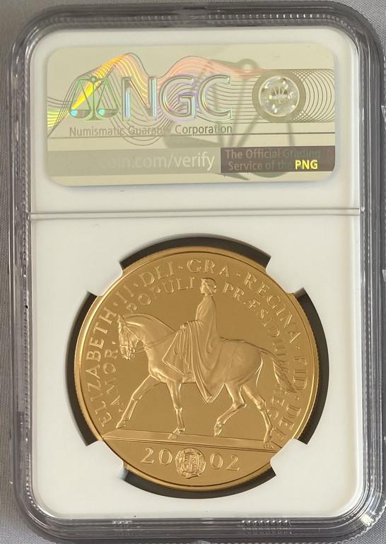 グレートブリテン2002年エリザベスII世ゴールデンジュビリーヘッド5ポンドプルーフ金貨NGC-PF69UCAM箱付き