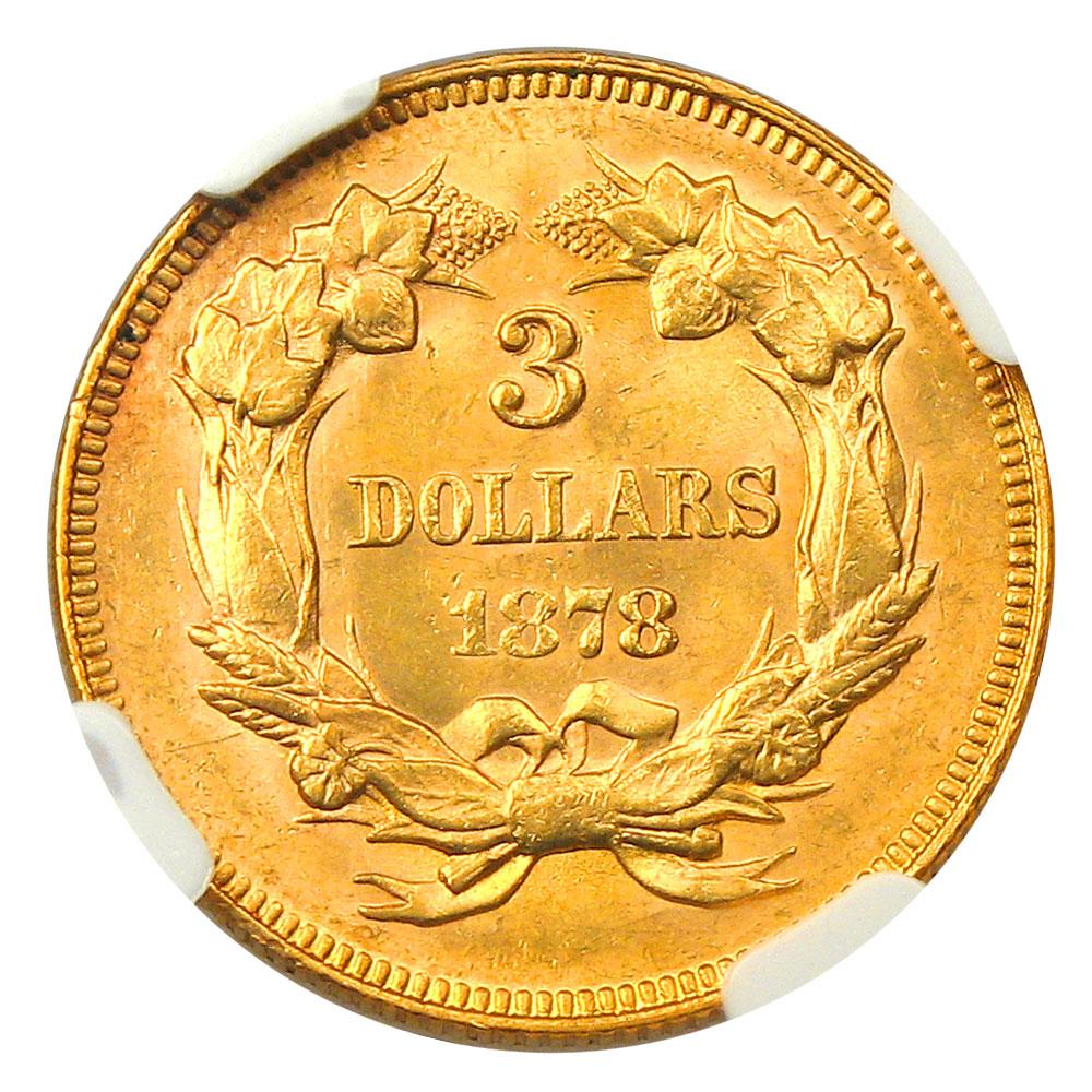 アンティークコイン アメリカ 3ドル金貨インディアンプリンスヘッド1878 $3 NGC MS61