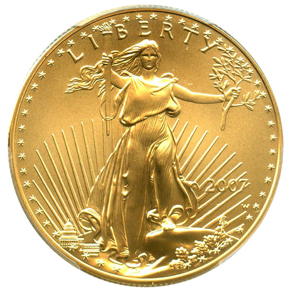50ドル金貨 ゴールドイーグル 2007-W Gold Eagle $50 PCGS MS70 (Burnished) 完全未使用