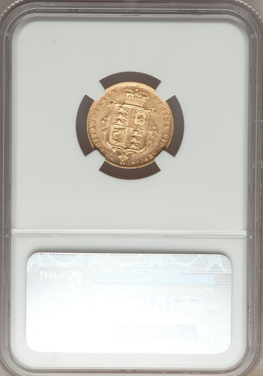 【動画あり】イギリス 1/2ソブリン金貨 Great Britain: Victoria gold Half Sovereign 1877, S-3860D, KM735.2, Young Head, Die #25, AU58 NGC