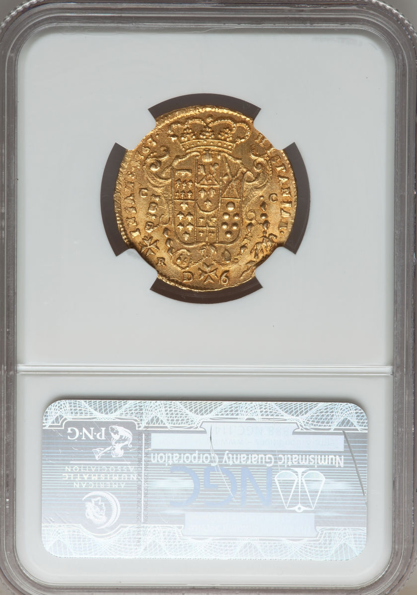 【動画あり】イタリア 6ドゥカティ金貨Naples & Sicily. Ferdinand IV gold 6 Ducati 1767 DG//CC-R. MS64 NGC
