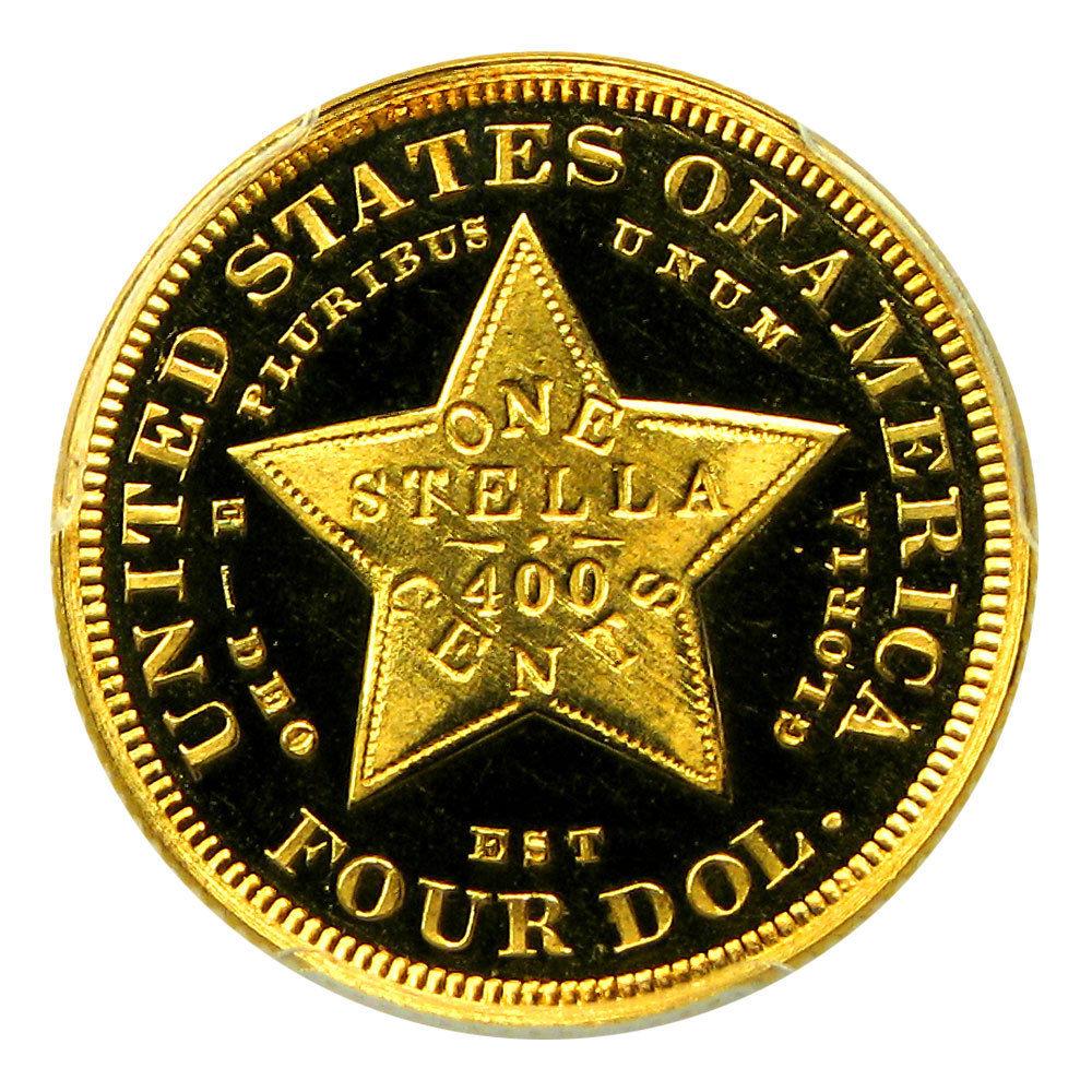 アメリカアンティークコイン4ドルステラ金貨1879 Stella $4 PCGS Secure/CAC Proof 65 DCAM フローイングヘア