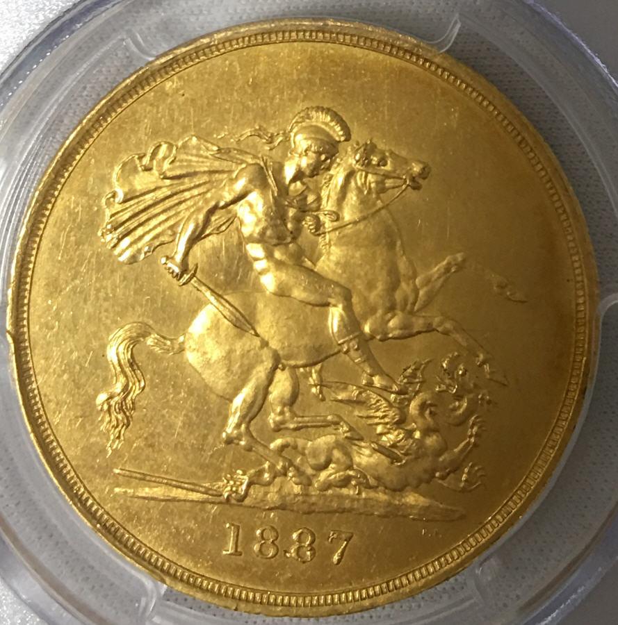 【動画あり】グレートブリテン 5ポンド金貨 Victoria gold 5 Pounds 1887 MS62 PCGS