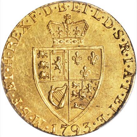 【動画あり】グレートブリテン ギニー金貨 George III  1793 MS62PCGS