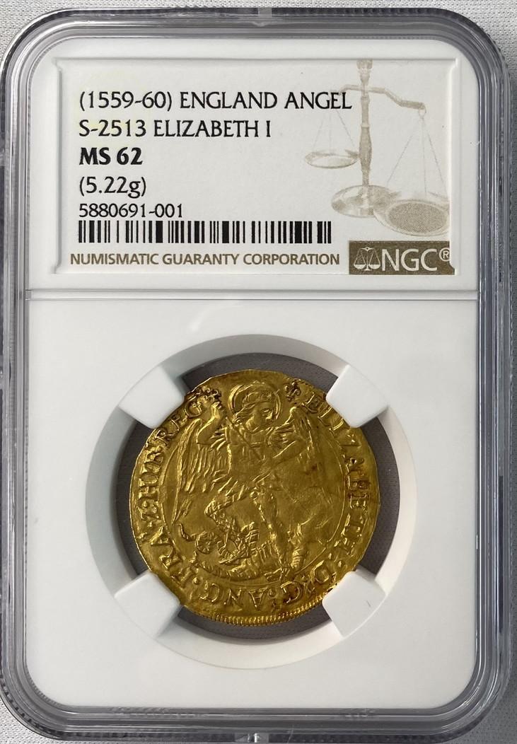 【動画あり】グレートブリテン エリザベス1世(1587-1589)エンジェル金貨 NGC-MS62