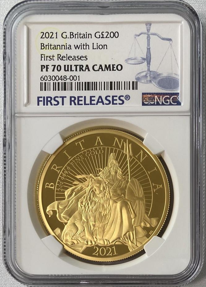 グレートブリテン 2021年 エリザベス2世 純金2オンス 200ポンドプルーフ・ライオンとブリタニア金貨 NGC-PF70UCAM ファーストリリース 箱付き6030108-002