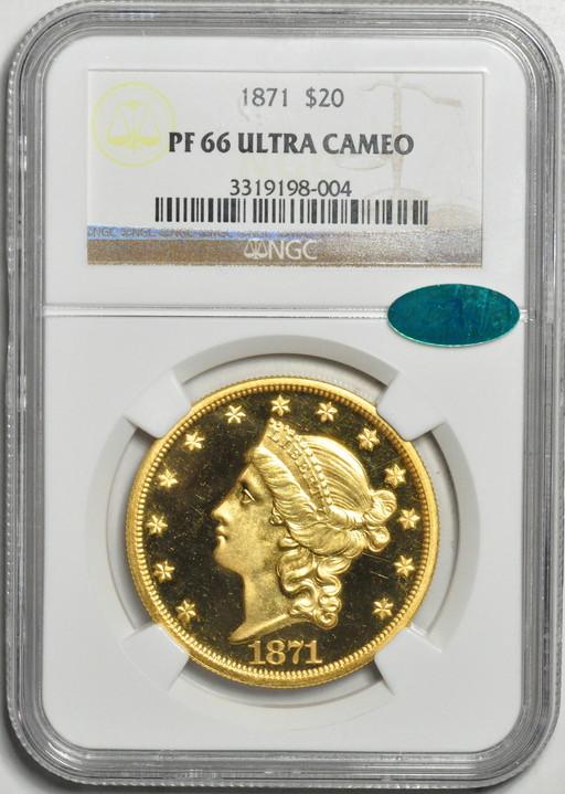 アンティークコイン アメリカ 20ドル金貨リバティヘッド1871 $20 Liberty Head Double EaglePF66UCAM NGC CAC