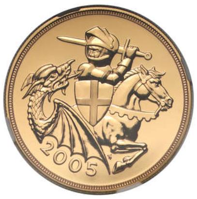 【動画あり】グレートブリテン2005年エリザベスII世5ポンド金貨セントジョージ-ナイトアンドドラゴンNGC-MS70DPLオリジナル箱付き