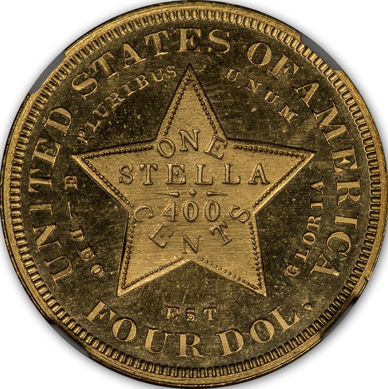 アメリカアンティークコイン4ドルステラ金貨1879 Stella $4 NGC Proof 66+スター CAM フローイングヘア