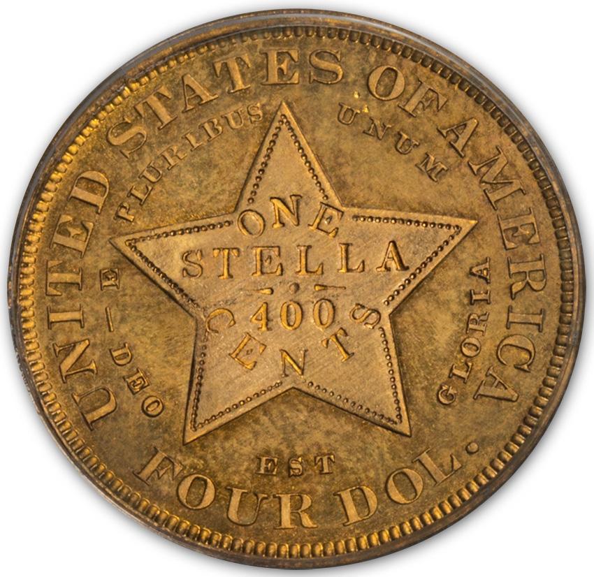 アメリカアンティークコイン4ドルステラ金貨1879 Stella $4 PCGS Proof 65フローイングヘア CAC