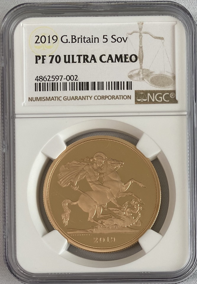 【動画あり】グレートブリテン2019年エリザベスII世5ポンドプルーフ金貨NGC-PF70UCAM