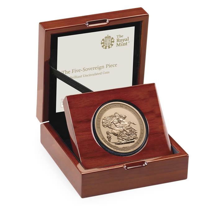 【動画あり】グレートブリテン2017年エリザベスII世200周年記念5ポンド金貨PCGSMS70DMPL箱付き